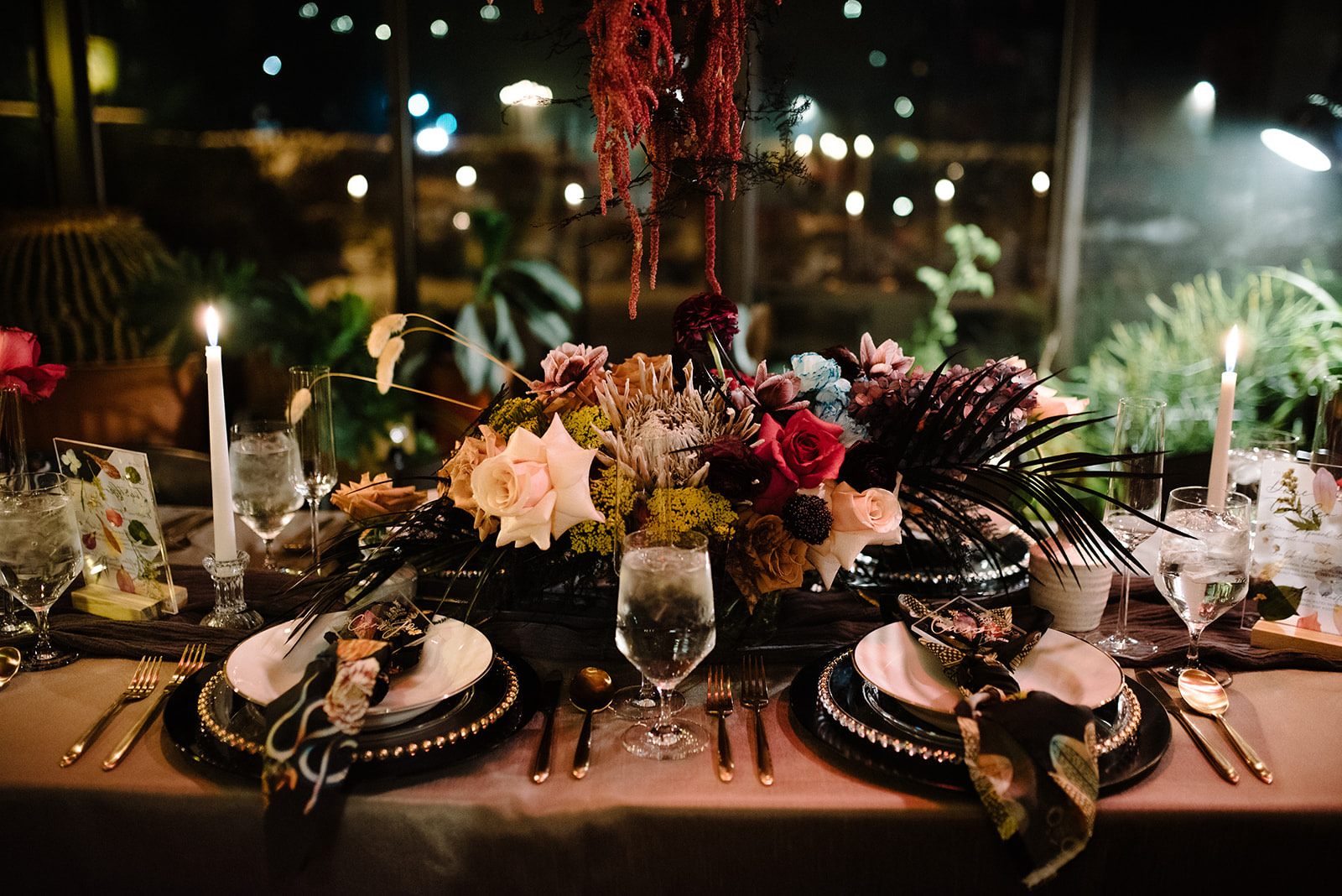 Heirloom Catering wedding reception table setting.